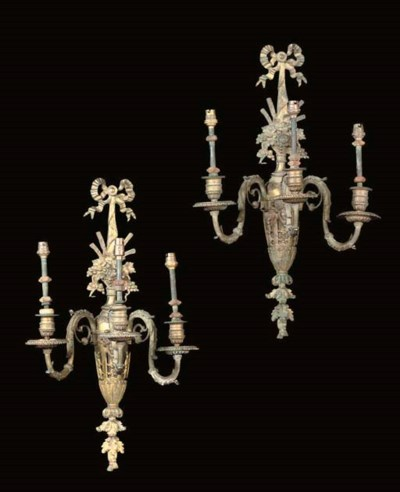A PAIR OF LACQUERED BRASS THRE