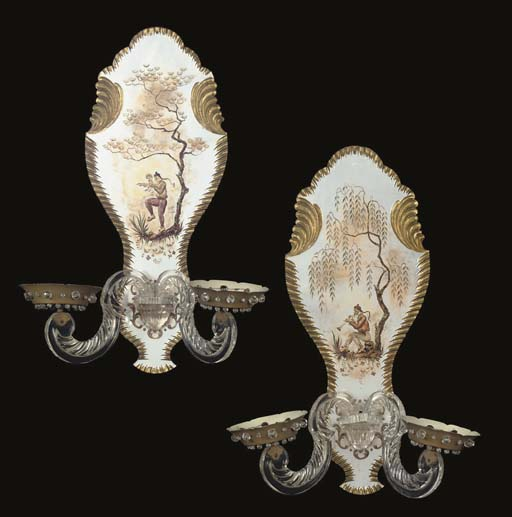 A PAIR OF GILT METAL AND PERSP