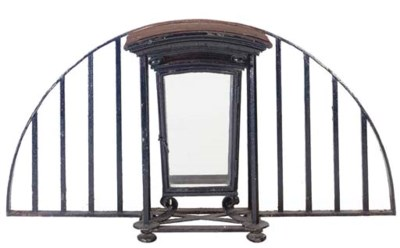 A BLACK PAINTED WROUGHT-IRON L