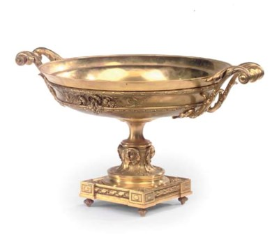 A FRENCH GILT BRONZE TAZZA
