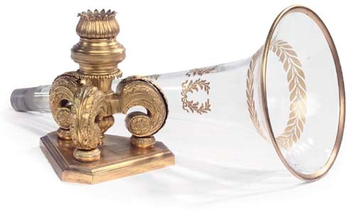 A FRENCH GILT BRONZE AND GLASS