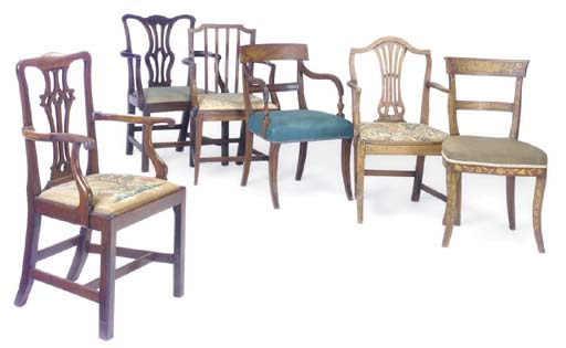 SIX VARIOUS DINING CHAIRS