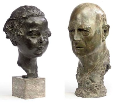 A BRITISH BRONZE PORTRAIT BUST