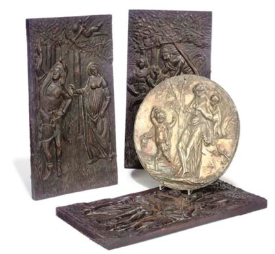 THREE RELIEF CARVED OAK PANELS