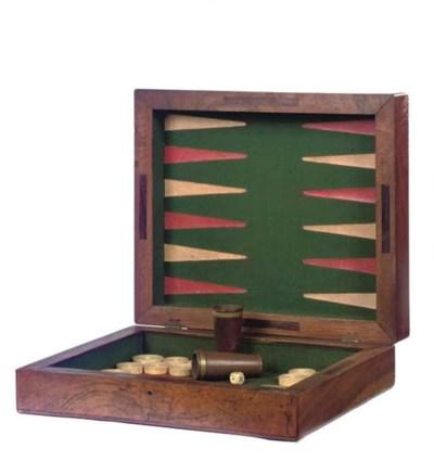 AN ENGLISH WALNUT GAMES BOX