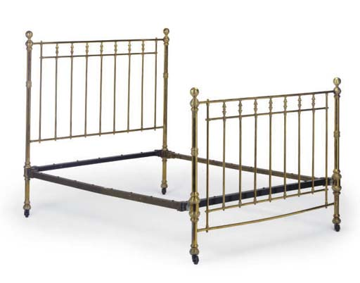 A VICTORIAN BRASS BED STEAD