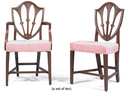 A SET OF TEN MAHOGANY DINING-C