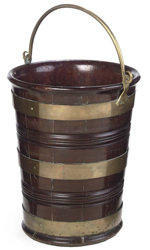 A LARGE DUTCH BRASS-BOUND MAHOGANY BUCKET
