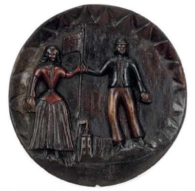 AN ENGLISH PAINTED-WOOD RELIEF