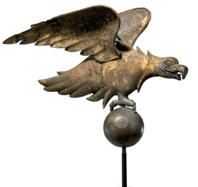 A MOULDED GILT-COPPER 'EAGLE'