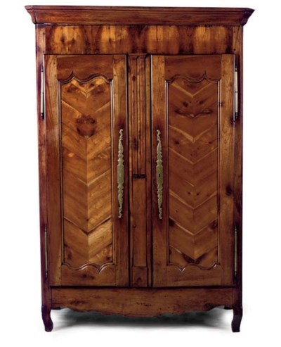 A FRENCH CHERRY ARMOIRE