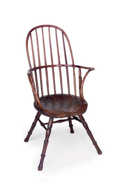 AN ASH WINDSOR ARMCHAIR