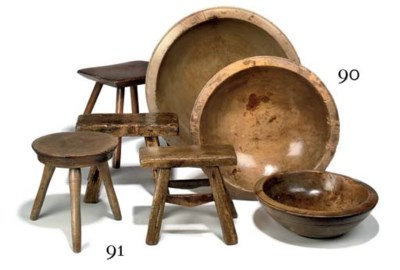 FOUR WELSH DAIRY STOOLS
