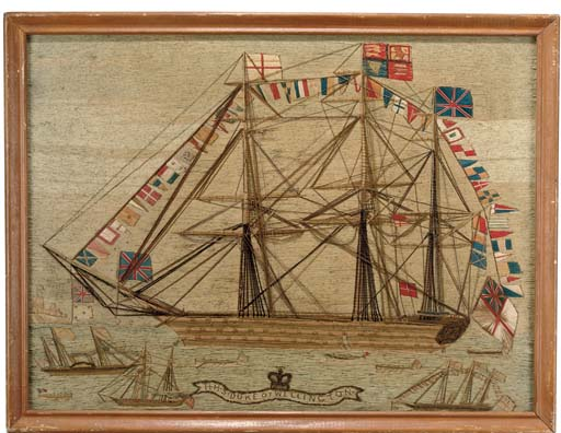 A SHIP'S WOOLWORK PICTURE 'THE