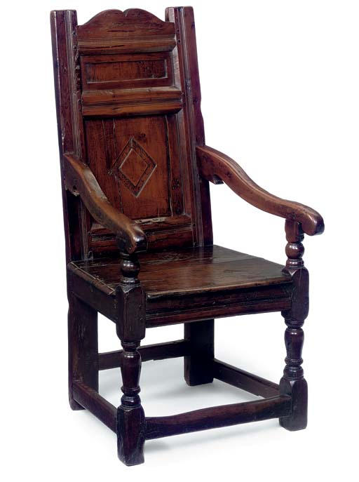 AN ENGLISH YEW TREE ARMCHAIR