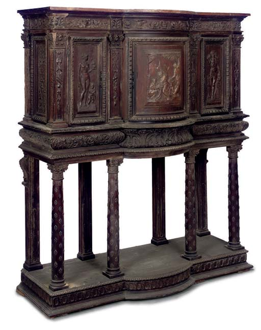 A FRENCH CARVED WALNUT CABINET