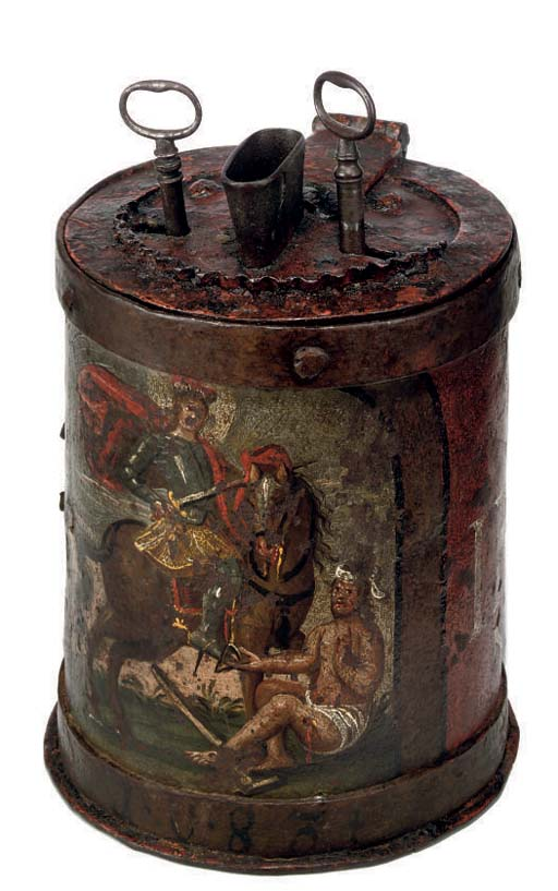A GERMAN WROUGHT-IRON POOR-BOX