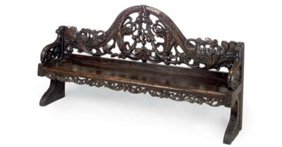 A DUTCH CARVED PINE BENCH