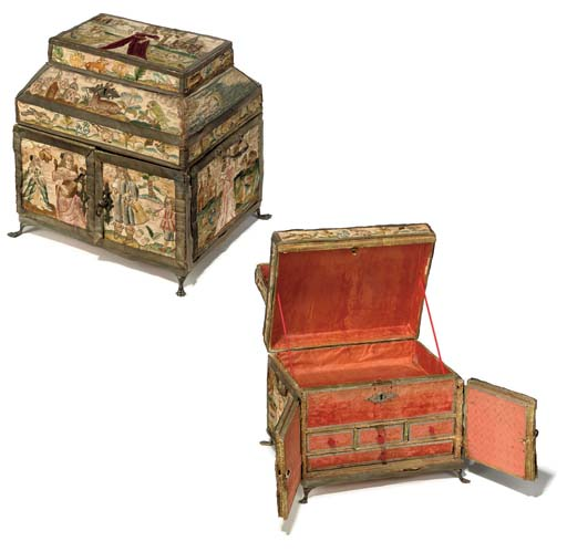AN ENGLISH NEEDLEWORK CASKET