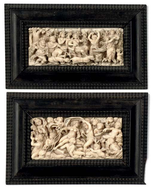 TWO FLEMISH HIGH-RELIEF CARVED