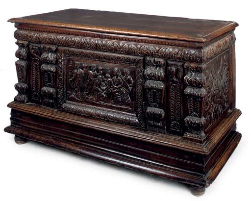 A FRENCH CARVED OAK CHEST