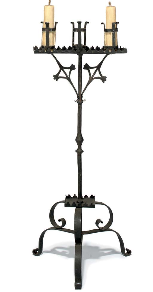 A WROUGHT-IRON FLOOR-STANDING