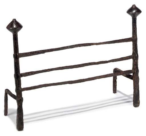 AN ENGLISH WROUGHT-IRON HEARTH