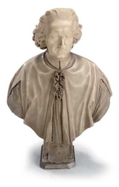 A FRENCH MARBLE BUST OF A CARD