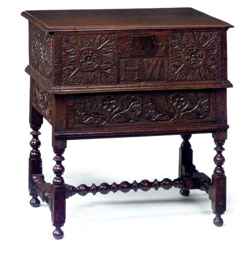 AN ENGLISH OAK BOX-ON-STAND