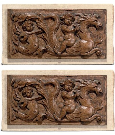 A PAIR OF FLEMISH CARVED OAK R