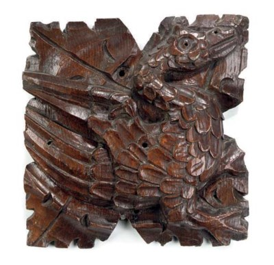 AN ENGLISH CARVED OAK RELIEF-B