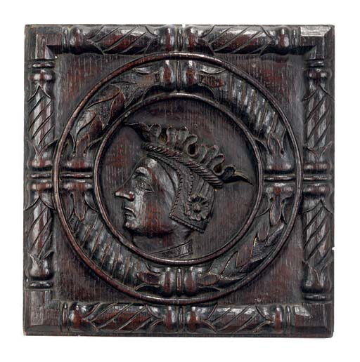 A RELIEF CARVED OAK 'ROMAYNE'
