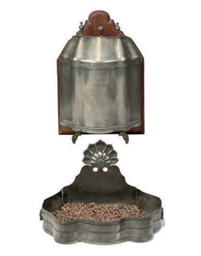 A FRENCH PEWTER CISTERN AND BA