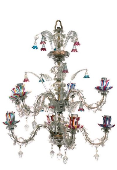 A VENETIAN GLASS EIGHT-LIGHT C
