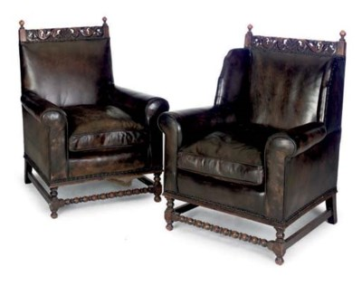 A MATCHED PAIR OF LEATHER UPHO