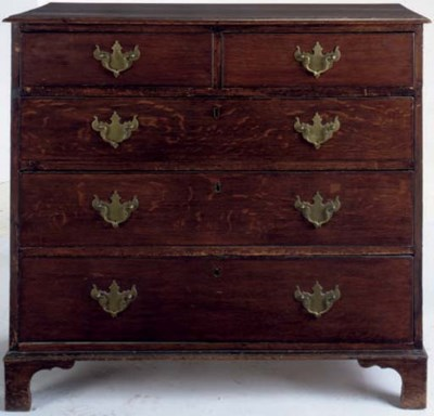 A GEORGE III OAK CHEST