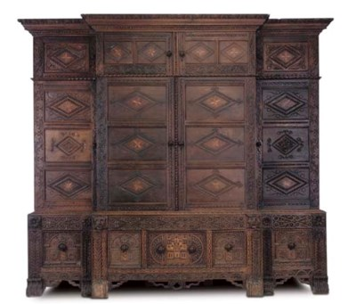 A LARGE OAK AND PARQUETRY BREA