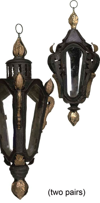 TWO PAIRS OF GILT-HEIGHTENED T