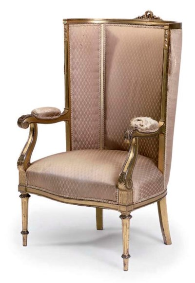 A GILTWOOD HIGH BACK FAUTEUIL
