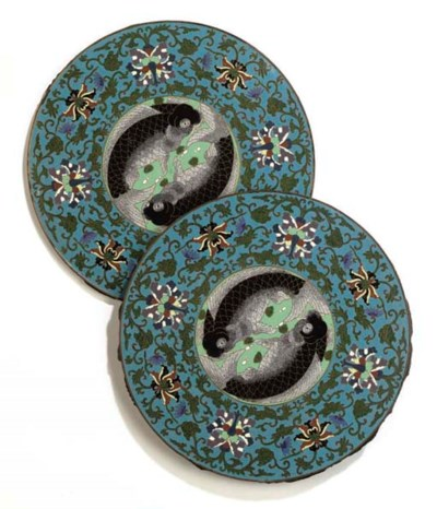 A PAIR OF CHINESE CHAMPLEVE EN