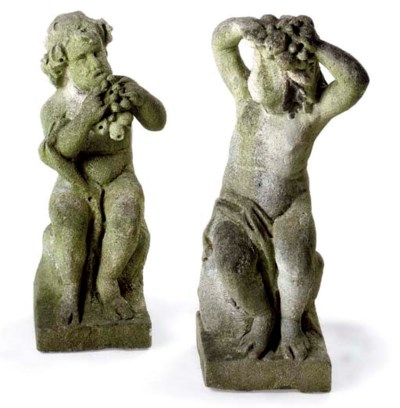 A PAIR OF COMPOSITE STONE CHER