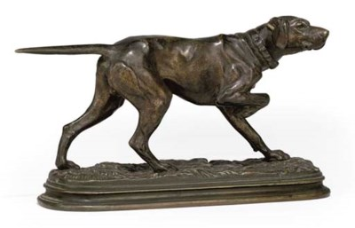 A FRENCH BRONZE POINTER