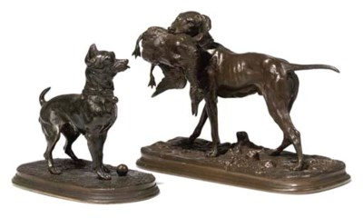 A FRENCH BRONZE OF A POINTER W