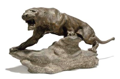 A FRENCH SPELTER MODEL OF A PU