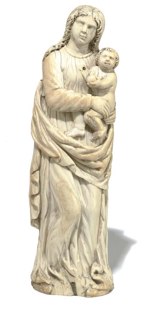 A CONTINENTAL IVORY GROUP OF THE VIRGIN AND CHILD