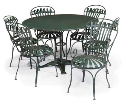 A SET OF FRENCH IRON GARDEN CH