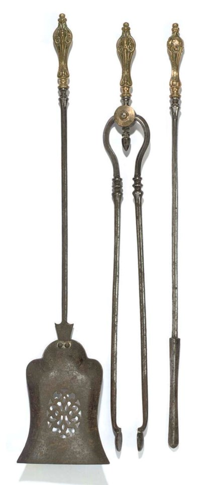 A SET OF THREE STEEL AND GILT