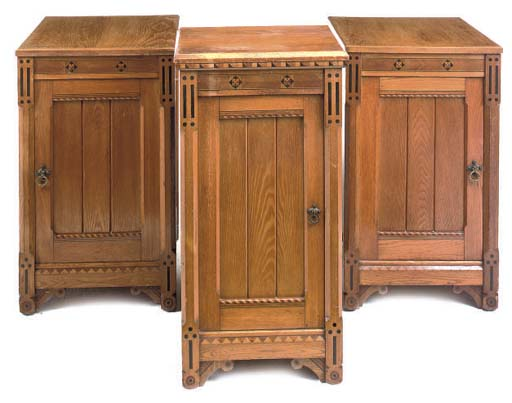 A PAIR OF LATE VICTORIAN ASH BEDSIDE CABINETS