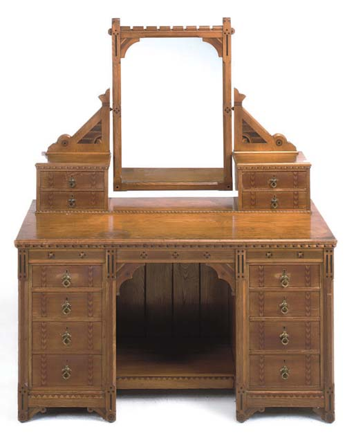 A LATE VICTORIAN ASH AND INLAID DRESSING TABLE
