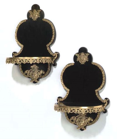 A PAIR GILT-BRONZE MOUNTED EBO